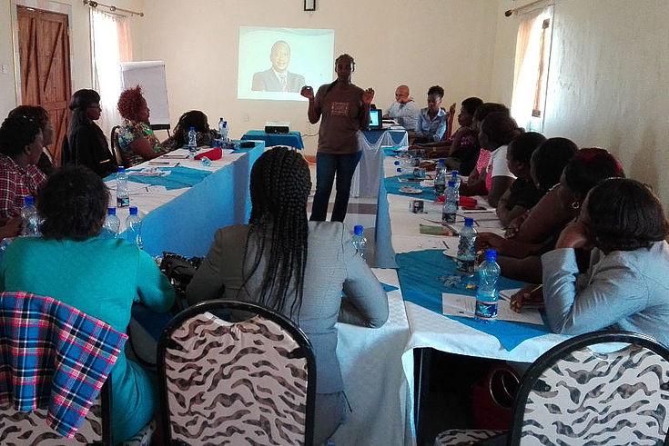Women leaders from Nyandarua County keenly listening to the facilitator Ms. Wanjiru Kago of ICDI.